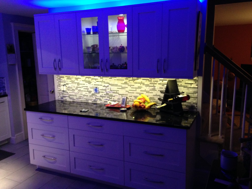 Kitchen LED Lighting with Blue Accent Lighting