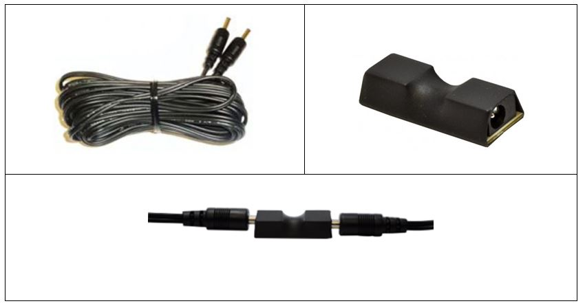 Top left: Interconnect Cable, Top Right: Cable Extender, Bottom: Cable Extender between two Interconnect Cables