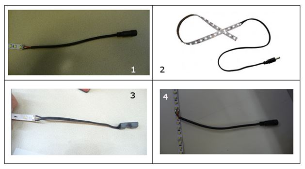 Four DIfferent Lead Types: Female flying lead, Male flying lead, Flying lead cable extender, and a mid-connector