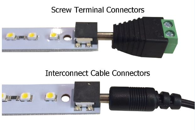 Close up, screw terminal compared to interconnect cable.
