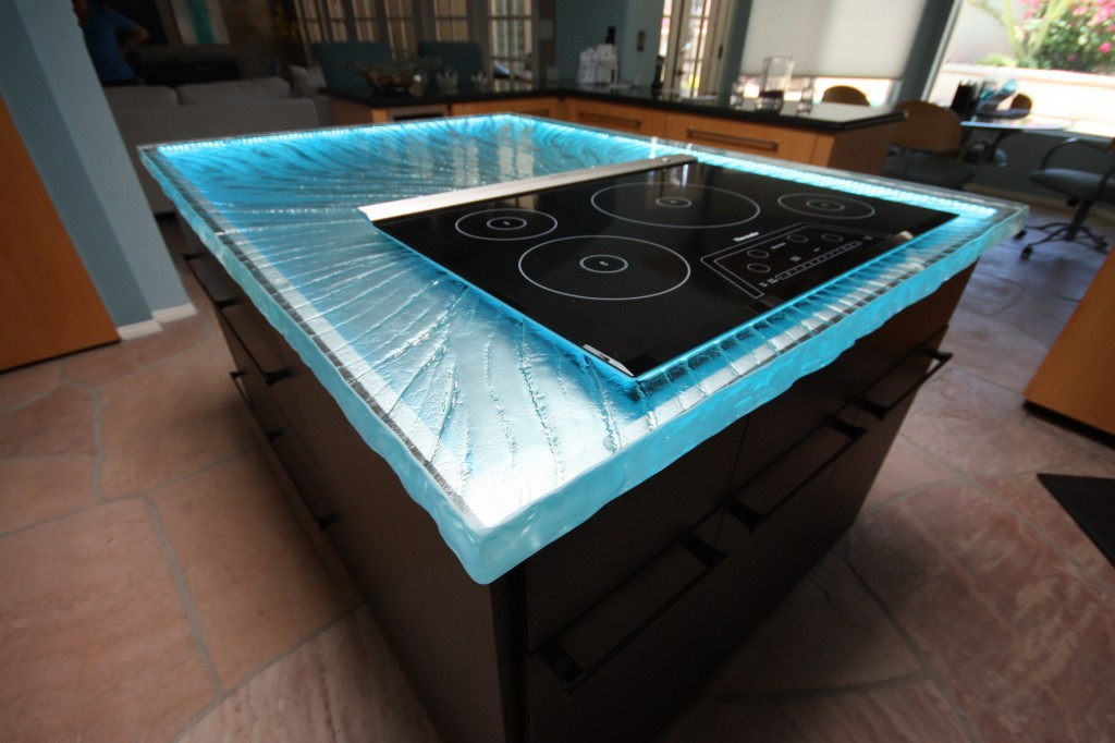 kitchen glass counter top with blue lights