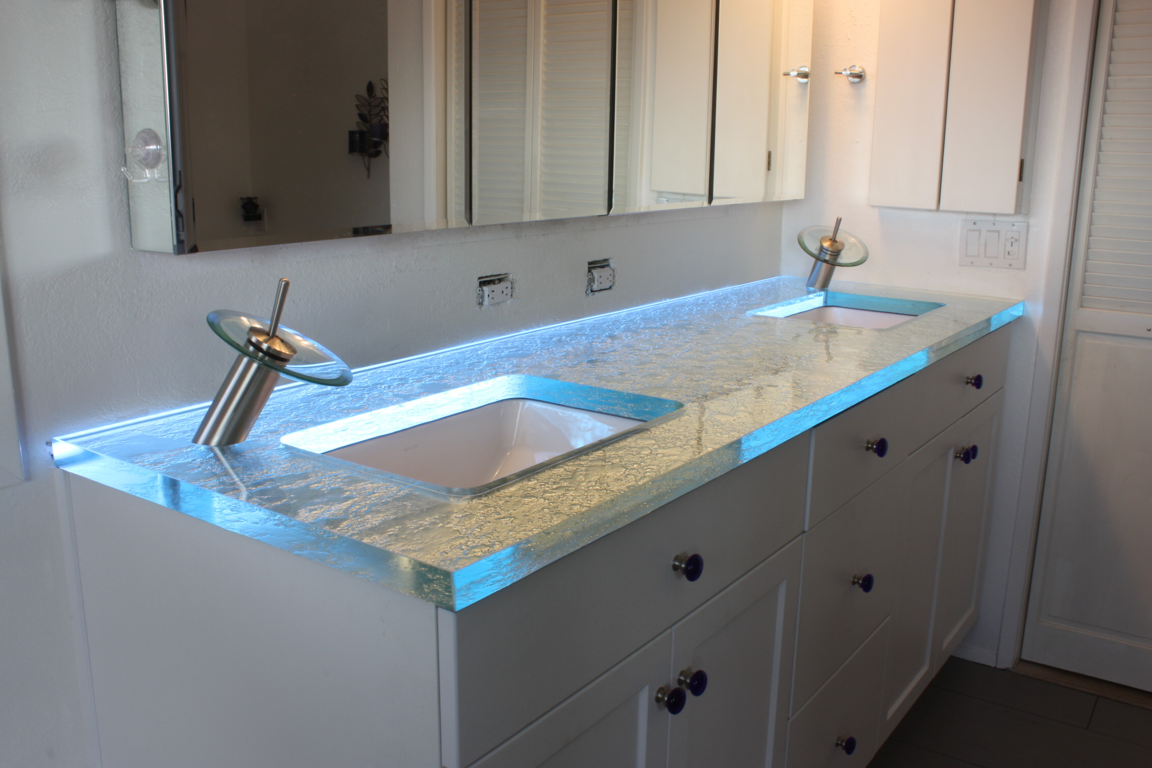 Modern Bathroom Vanity Led Light Crystal Front Mirror: Installing Lighting On A Glass Cabinet