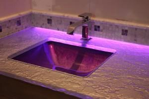 backroom accent lighting purple sink
