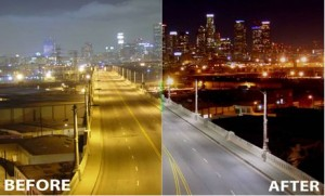 city lights before and after LEDs