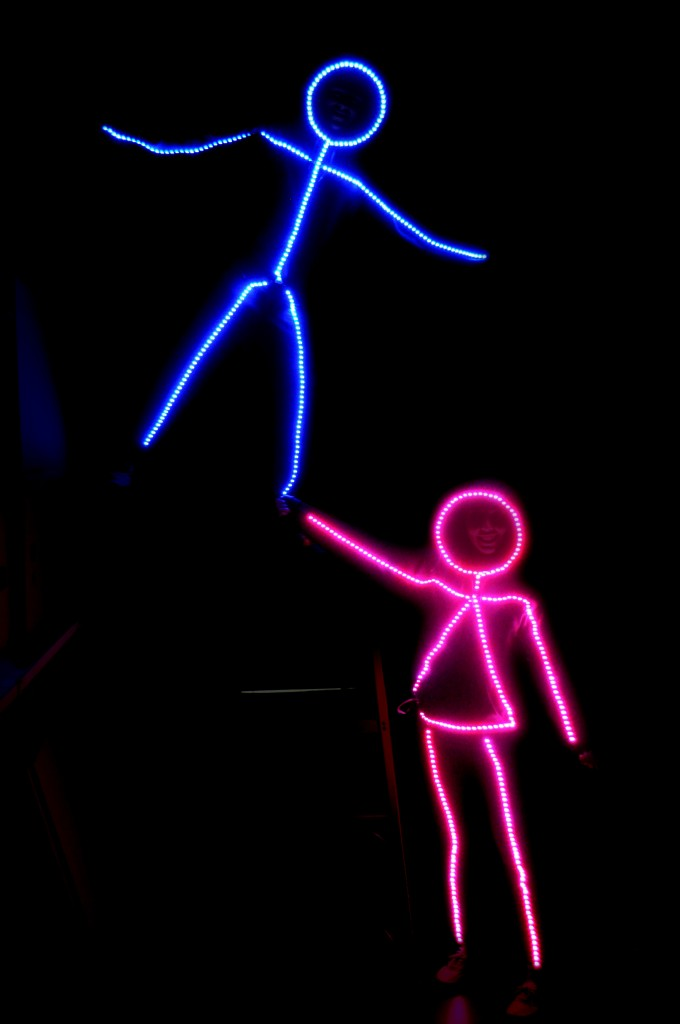 I'm going to show you how to build a simple LED stick figure costume. This project is super easy providing you have basic soldering skills. It was a huge hit in our neighborhood. I lost count of how many people said this was the best costume they had seen that night and how cool they thought it was.